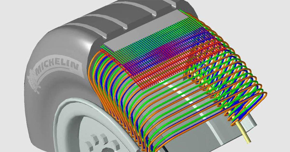 Fotografija prikazuje razrez plasti pnevmatike.