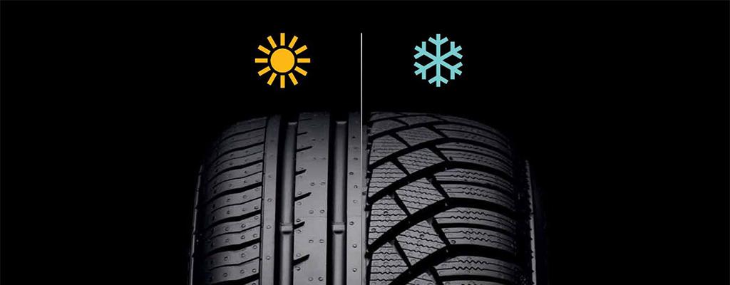 Na fotografiji je profil pnevmatike - letne in zimske gume.
