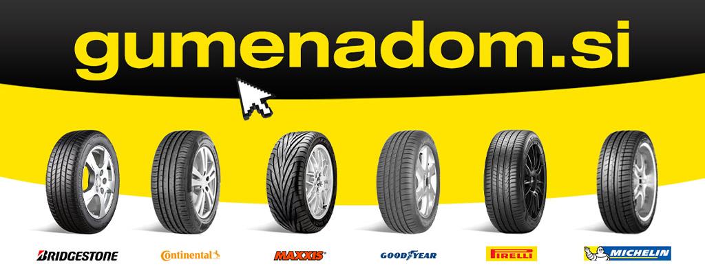 Na fotografiji so gume priznanih znamk, ki jih najdete v spletni trgovini Gumenadom.si.